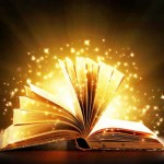 Opened magic book with magic light. Education